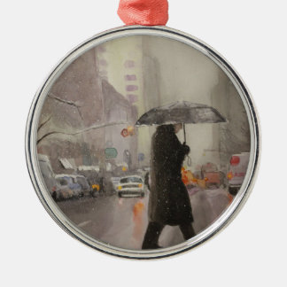 New York Chill Silver-Colored Round Ornament
