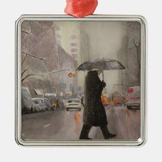 New York Chill Silver-Colored Square Ornament