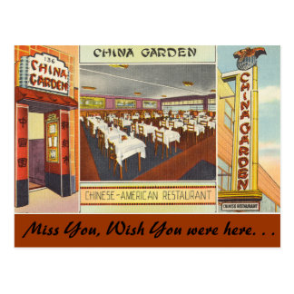 New York, China Garden Restaurant Postcard