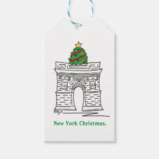 New York Christmas NYC Landmarks Gift Tag