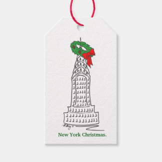 New York Christmas NYC Skyscraper w/ Wreath Tags