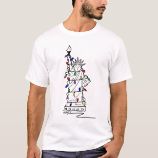 New York Christmas Statue of Liberty Holiday Tee