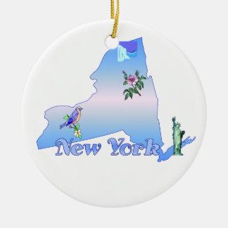 New York Christmas Tree Decoration Round Ceramic Ornament