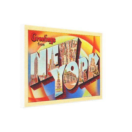New York City #2 NY Large Letter Travel Postcard - Canvas Print