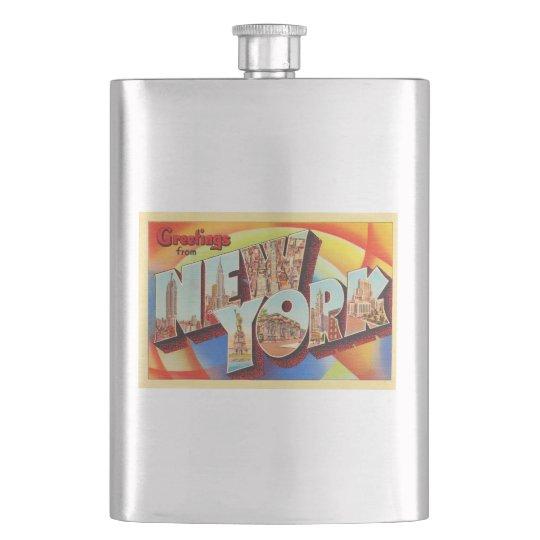 New York City #2 NY Large Letter Travel Postcard - Hip Flask