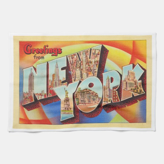 New York City #2 NY Large Letter Travel Postcard - Kitchen Towel
