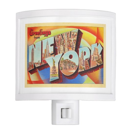New York City #2 NY Large Letter Travel Postcard - Nite Lites