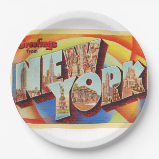 New York City #2 NY Large Letter Travel Postcard - Paper Plate