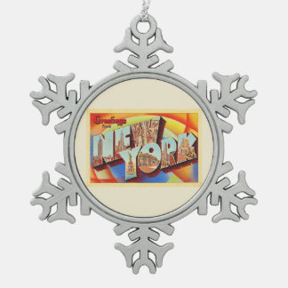New York City #2 NY Large Letter Travel Postcard - Snowflake Pewter Christmas Ornament