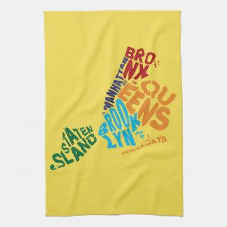 New York City 5 Boroughs Calligram Map Kitchen Towel