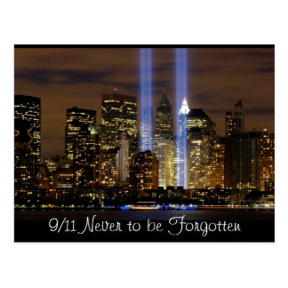 """""""New York City"""" 9/11 Tribute with Lights Postcard"""