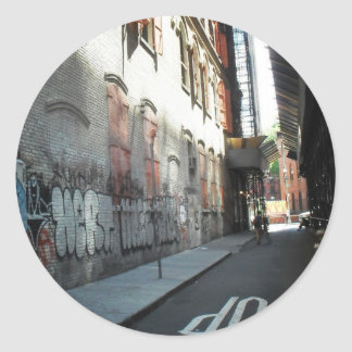 New York City Alley on a Summer Day Classic Round Sticker