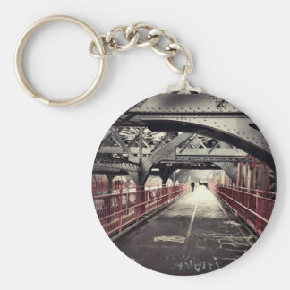 New York City Architecture - Williamsburg Bridge Basic Round Button Keychain