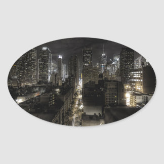 New York City at Night Oval Sticker