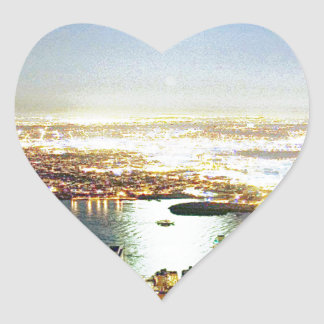 New York city At night Heart Stickers