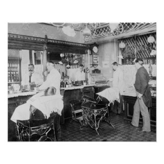 New York City Barber Shop, 1895. Vintage Photo Poster