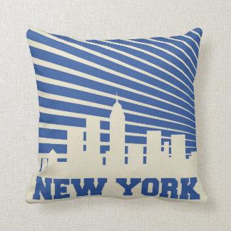 New York City Blue Throw Pillow