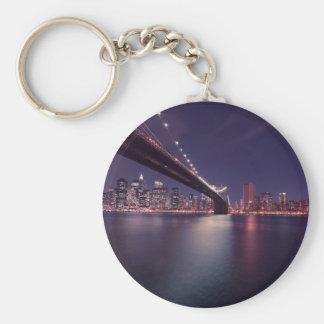 New York City Brooklyn Bridge Night Skyline Keychain