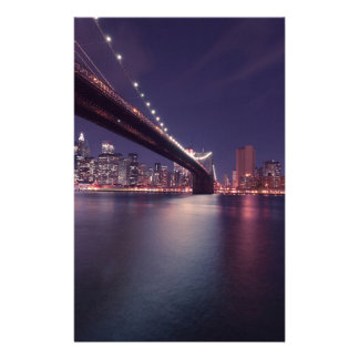 New York City Brooklyn Bridge Night Skyline Stationery