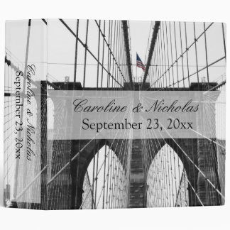 New York City Brooklyn Bridge Wedding 3 Ring Binder