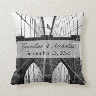 New York City Brooklyn Bridge Wedding Throw Pillow