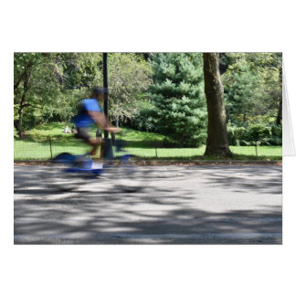 New York City Central Park Cyclist Bicycle Photo Card