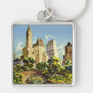 New York City Central Park Vintage Poster Keychain