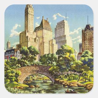 New York City Central Park Vintage Poster Square Sticker