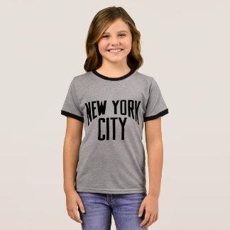 New York City! CHILDREN'S TSHIRT GREY/BLACK RINGER