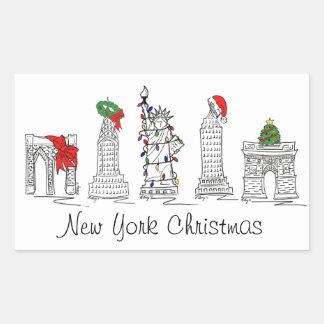 New York City Christmas NYC Landmarks Holiday Xmas Sticker