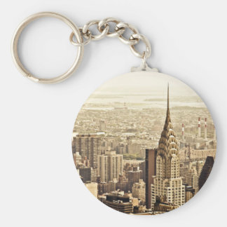 New York City - Chrysler Building Basic Round Button Keychain