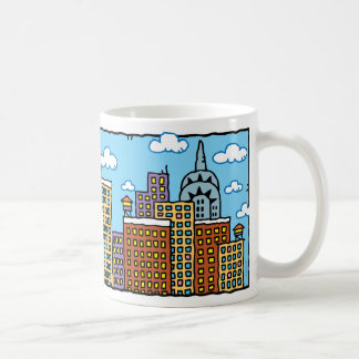 New York City Color Cartoon Skyline Mug