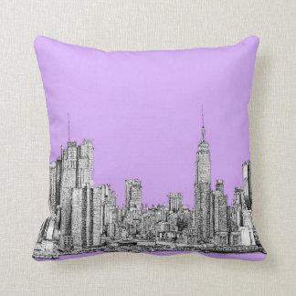 New York City dans le rose lilas Coussin Décoratif