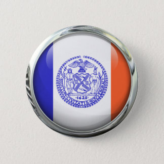 New York City Flag Glass Ball 2 Inch Round Button