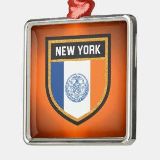 New York City Flag Silver-Colored Square Ornament
