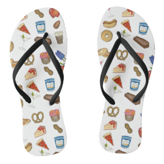 New York City Foodie NYC Foods Tourist Food Print Flip Flops