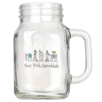 New York City Hanukkah NYC Jewish Holiday Chanukah Mason Jar