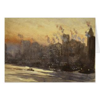New York City harbor and skyline at night 1920's Card