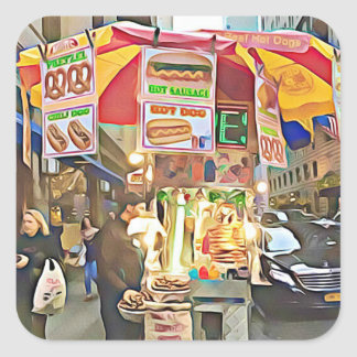 New York City Hot Dog Stand Photo Sticker