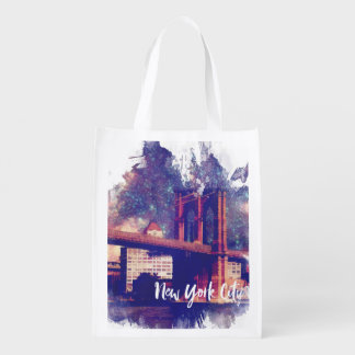 New York City Illustration Reusable Grocery Bag