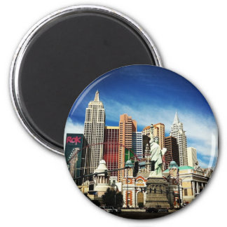 New York City in Las Vegas 2 Inch Round Magnet