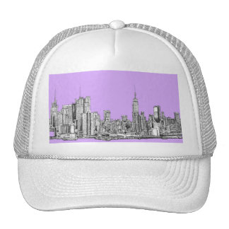 New York city in lilac pink Trucker Hats