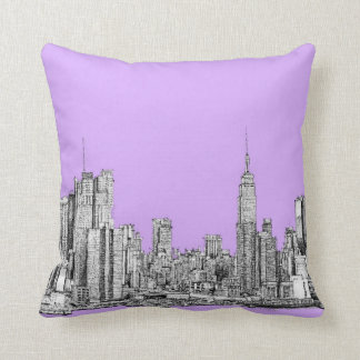 New York city in lilac pink Pillows