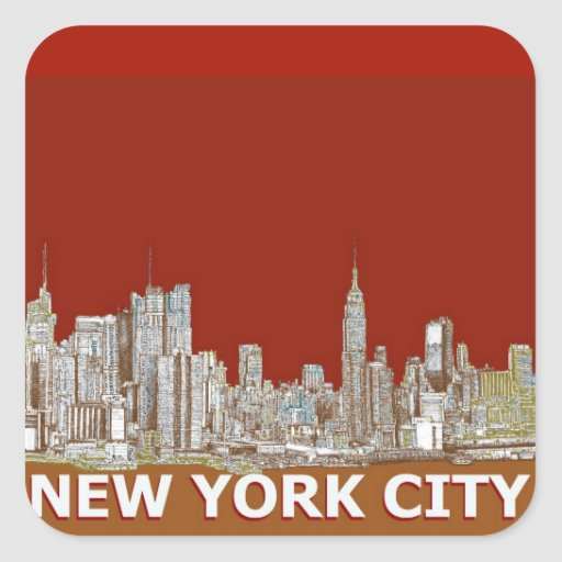 New York city in reds and browns Square Stickers