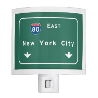 New York City Interstate Highway Freeway Road Sign Night Lites