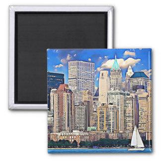 New York City Manhattan Skyline Sailboat Magnet