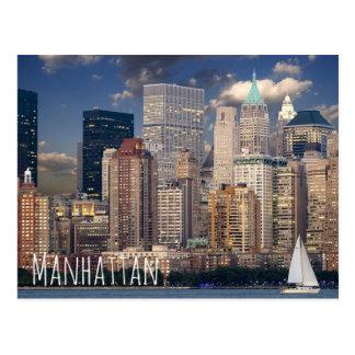 New York City Manhattan Skylne at Night Postcard
