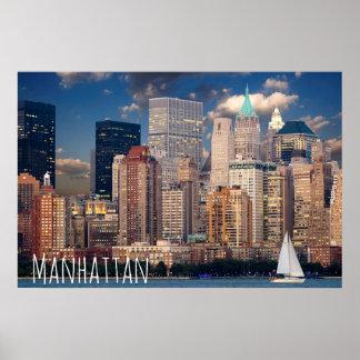 New York City Manhattan Skylne at Night Postcard Poster