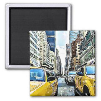 New York City Manhattan Taxi Cabs Magnet