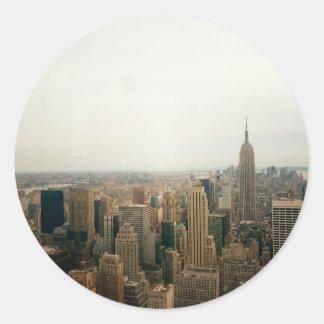 New York City Midtown Cityscape Round Sticker